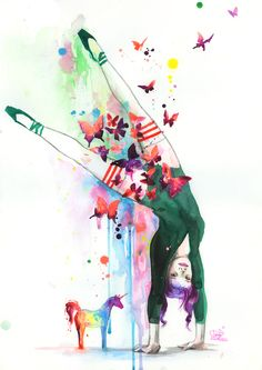 Mini Unicorn and a Handstanding Girl | Lora Zombie | Watercolor | Grunge