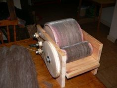 A view of a DIY drum carder - can see an idea on how to do the bicycle powered one.