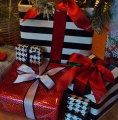Black and white with touches of red Christmas wrapping