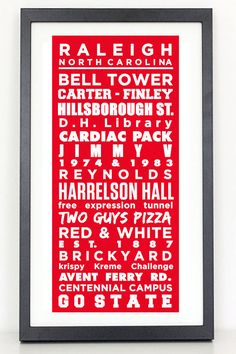 Raleigh NC  Subway Sign  Home of the NC State by ColiseumGraphics, $40.00