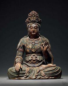 宋-元彩繪木雕觀音坐像