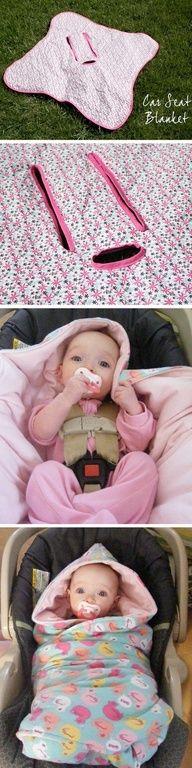 DIY: Baby car seat blanket << this is genius!