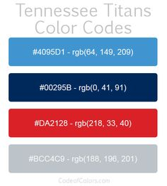 Team Colors of the Tennessee Titans. Hexadecimal and RGB Codes for the Tennessee Titans Logo. Hex and RGB Color Palette Schemes for the Tennessee Titans Jerseys. What colors are the Tennessee Titans?