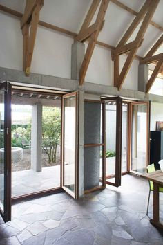 Note; the bi-fold feature of the (sliding) glass doors do not encroach on space as the larger solid paneled ones will... Rad Belgium Home by; Atelier Vens Vanbelle