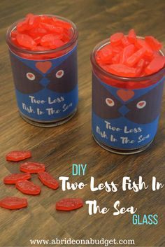 #ad Make date night at home fun with these Two Less Fish In The Sea candy glasses. Get the printable free at www.abrideonabudget.com.