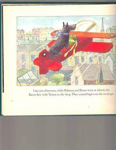 Vintage 1992 Scottie Dog children's book illustration on an airplane.