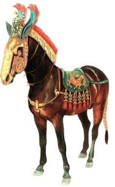 Reconstrucion of horse trappings from Pazyryk garve finds.