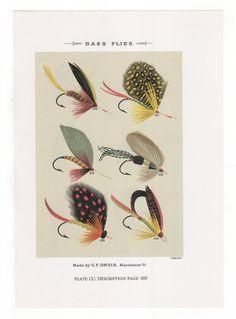 Fly Fishing Flies Print Bass Flies Print by WondersOfThePast