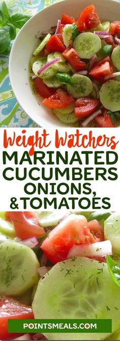 Marinated Cucumbers, Onions, and Tomatoes - Weight watchers - Salat Weight Watchers Sides, Weight Watchers Smart Points, Weight Watchers Meals, Weight Watchers Vegetarian, Weight Watchers Program, Salade Weight Watchers, Plats Weight Watchers, Weight Watchers Dressing, Ww Recipes
