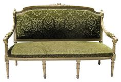 A Luxurious Louis XVI-Style Gilded Settee. Louis XVI is a popular style for Hollywood Regency being the beginning of the Neoclassic interior design eras.