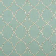 Spa Blue Moroccan Embroidered Linen-Like Poly Blend