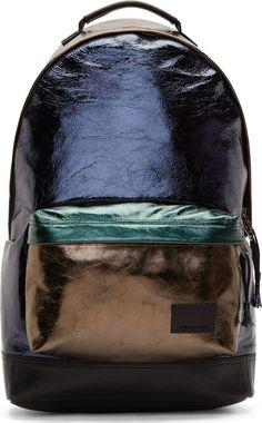Krisvanassche: SSENSE Exclusive Blue Metallic Leather Backpack | SSENSE