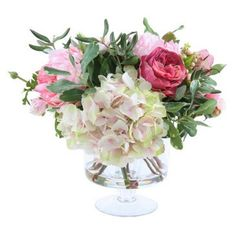 """Check out this item at One Kings Lane! 15"""" Garden Flowers in Vase, Pink"""
