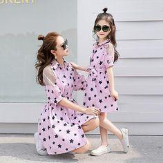 cbab8a714cb Mother and daughter dress skirt summer short-sleeved princess Korean  version 2017 Parents fitted new summer twilight dress