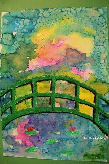 'Grade Monet Bridge--Oil pastel down first, watercolor to fill up the background. Sprinkle salt on top. Rub salt away once the paint has dried. First Grade Art, 2nd Grade Art, Art Lessons For Kids, Art Lessons Elementary, Ecole Art, Claude Monet, School Art Projects, Kindergarten Art, Spring Art