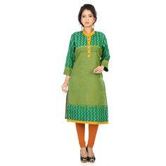 Green Block Print Kurti for Formal Office Wear Look