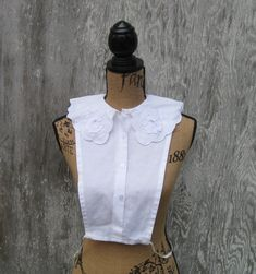 Vintage Dickie, Insert, Blouse Collar, Shirt Front, Elastic Sides, Dickie, White Dickie, Flower Lace Dickie by NormasTreasures on Etsy