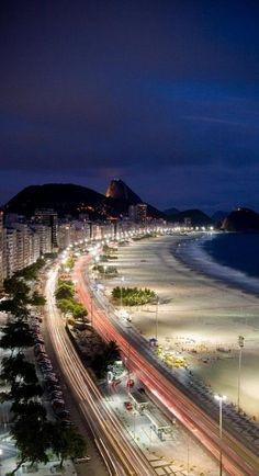 Copacabana at night, Rio de Janeiro, Brazil