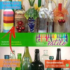 GRANDE ESTILO GARRAFAS CUSTOMIZADAS - Transformando o que antes ia para o lixo em arte e decoração! Se você tem uma garrafa, saiba que aqui poderá customizá-la. Conheça nossa linha de produtos feitos exclusivamente com garrafas recicladas e faça sua encomenda. Ajudando a natureza. Decorando seu ambiente!