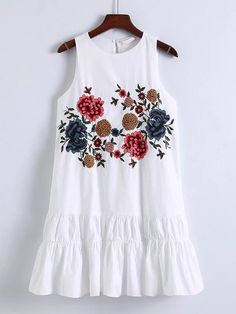Shop Flower Embroidery Keyhole Back Tiered Dress online. SheIn offers Flower Embroidery Keyhole Back Tiered Dress & more to fit your fashionable needs. White Floral Dress, Embroidery Dress, Embroidery Shop, Tiered Dress, Summer Dresses For Women, Fashion Dresses, Fashion Clothes, Clothes For Women, Lady