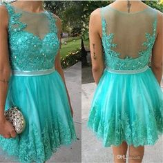 Sexy Turquoise Short Homecoming Prom Gowns 2016 A Line Illusion Back Lace Appliques Crystals Plus Size Knee Length Junior Sweet 8 Grade Gown Short Homecoming Gowns Plus Size Prom Dresses Cheap Homecoming Dresses Online with $154.29/Piece on In_marry's Store | DHgate.com