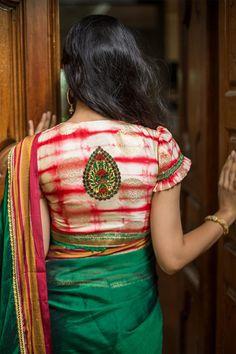 House Of Blouse Cream red shibori dyed brocade blouse