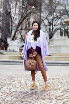 A Casual Winter Look in Lavender and Chestnut - Wendy's Lookbook Mint Sweater, Color Block Sweater, Slouchy Sweater, Wendy's Lookbook, Classy Work Outfits, Patent Leather Boots, Sequin Jacket, Sequin Skirt, Boucle Jacket