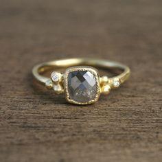 Grey diamond ring