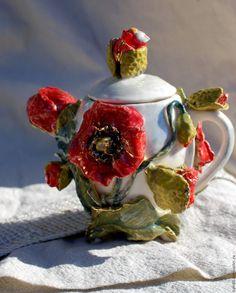 """Чайничек """"Маковое поле"""" - комбинированный, чайник, чайничек, чайник декоративный, маленький чайничек, яйцо"""