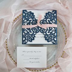 Stunning Glittery Wedding Color Ideas with Matching Invitations Wedding Invitation Trends, Burgundy Wedding Invitations, Laser Cut Wedding Invitations, Blue And Blush Wedding, Blush Pink, Reception Card, Navy Blue, Wedding Colors, Wedding Ideas