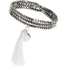 Boho Betty Beaded Tassel Bracelet ($32) ❤ liked on Polyvore featuring jewelry, bracelets, bohemian jewelry, white gold jewellery, bead jewellery, stacking bangles and bohemian jewellery