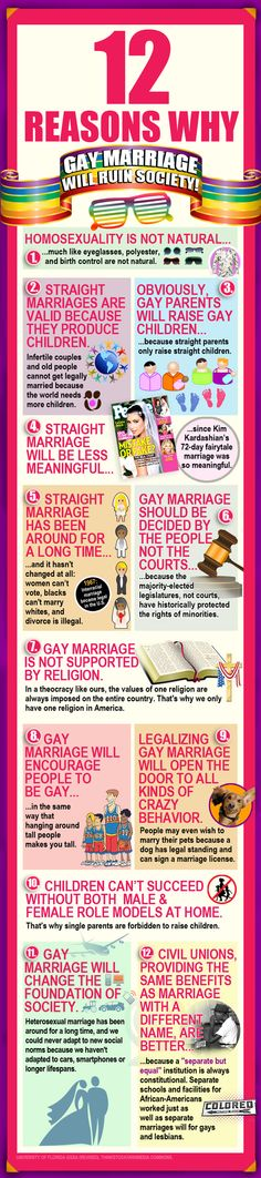 12 Reasons Why Gay Marriage Will Ruin Society- I could feel the sarcasm oozing out of this article so much
