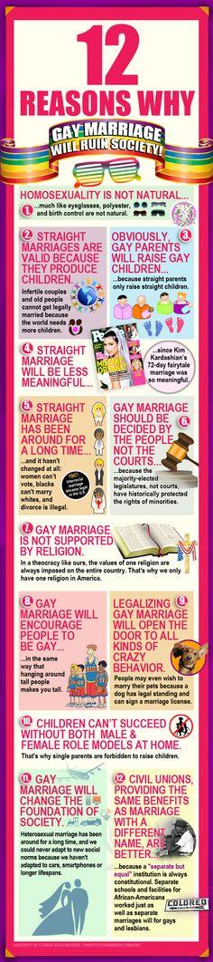 12 Reasons Why Gay Marriage Will Ruin Society