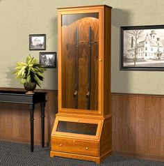 Gun cabinet plans, Free Woodworking Plans Choose from this wide selection of Free Gun Cabinet woodworking plans. Woodworking Workshop Plans, Woodworking Furniture Plans, Teds Woodworking, Woodworking Joints, Woodworking Classes, Intarsia Wood Patterns, Wood Carving Patterns, Gun Cabinet Plans, Cabinet Ideas