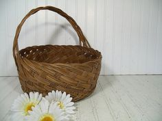 Vintage Large Round Natural Wicker Deep Decorator Basket - Rustic Hand Woven Strong Carry All with Braided Handle - Primitive OverSized Tote $46.00 by DivineOrders