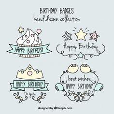 Insignias de cumpleaños simpáticas y divertidas dibujadas a mano Vector Gratis