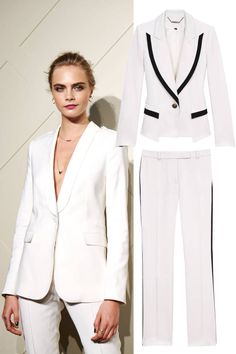 White tux.  Le Smoking Tuxedo Shopping Guide - Best Designer Suits Women - Harper's BAZAAR