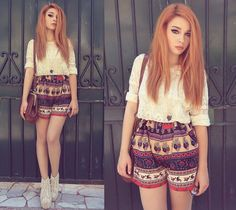 Love the pattern if the shorts and colour of her hair