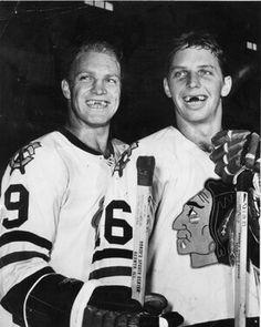 Bobby Hull and Dennis Hull. Blackhawks Hockey, Hockey Teams, Chicago Blackhawks, Ice Hockey, Blackhawks News, Chicago Hockey, Bobby Hull, Hockey Pictures, Nhl Highlights