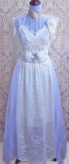 Bliss Vintage Lace Tulle Wedding Gown with Bolero Jacket & Rose Crystal Sash