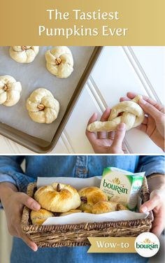 """Savory crescent roll pumpkins are the perfect appetizer for any autumn get together–and they only take a few simple steps to make. First, roll prepackaged crescent dough until it is long and narrow. Carefully knot the dough as pictured, then continue to wrap the dough around itself. Stick the two remaining tails into the center of the pumpkin, and add a halved pecan to create a """"stem."""" Brush with egg wash and bake according to package instructions, then enjoy with delicious Garlic & Fine…"""