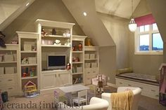 built in for playroom-tv and baskets