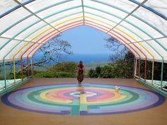 [Rainbow labyrinth at Dragonfly Ranch, Hawaii.