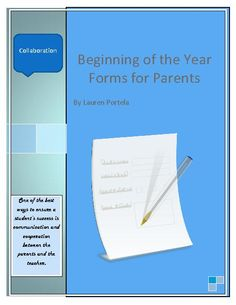 This packet contains two forms for parents to fill out: Student Information Sheet Tell Me About Your Child sheet This is a great way to get to know your students and collaborate with parents. Special Education Forms, High School Classroom, Classroom Decor, Parent Forms, Student Information Sheet, Beginning Of Year, Back To School Organization, Parent Communication, Teaching Resources