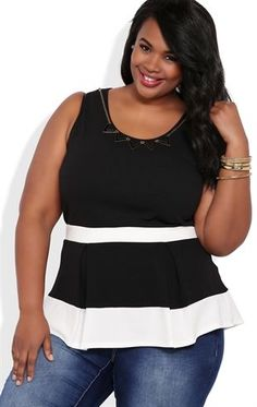 Deb Shops Plus textured #peplum tank with colorblocking and necklace $21.00