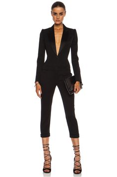 Alexander McQueen Cigarette Tuxedo Virgin Wool Jumpsuit in Black | FWRD [1]