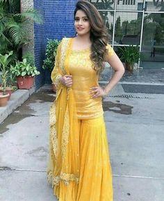 Beautiful Indian Wedding Dress Readymade Sharara, Kurta, Dupatta New Yellow Suit Bridal Mehndi Dresses, Desi Wedding Dresses, Mehendi Outfits, Party Wear Dresses, Pakistani Dress Design, Pakistani Dresses, Indian Dresses, Indian Outfits, Pakistani Mehndi Dress