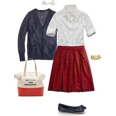 """OOTD White, navy & red stripes"" by maomi on Polyvore"