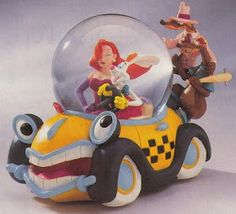 Scan from the Disney Catalog. Who Framed Roger Rabbit Description: One of animation's hottest pursuit scenes ever is recreated in snowglob. Disney Dream, Disney Love, Disney Magic, Disney Stuff, Disney Music Box, Jessica And Roger Rabbit, Disney Snowglobes, Snow Globes, Water Globes