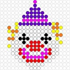 Kralenplank Clown - Kralenplankjes.nl Pearler Bead Patterns, Perler Patterns, Loom Beading, Beading Patterns, Diy Perler Beads, Bobble Stitch, Melting Beads, Beaded Cross Stitch, Circus Theme